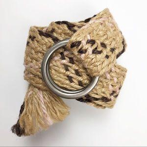 AEO braided jute belt frayed end size medium